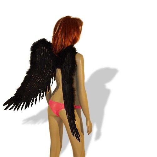 Engelsflügel schwarz oder weiß 75x50cm Engel Flügel Halloween Fasching Karneval Fallen Angel (schwarz)