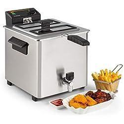 Klarstein Family Fry - Friteuse, 3000W, 8 Litres, Thermostat réglable en continu, Oil Drain Technologie, Zone de refroidissement, Boîtier Cool Touch, Inox, argent