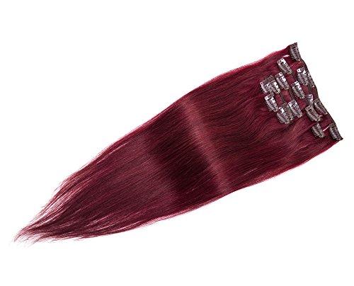 Vente en gros Clip Femme en véritable doux Extensions de cheveux humains Cheveux raides 38,1 - 91,4 cm # 99J violacé Darkest Rouge