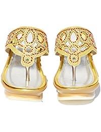 Royal JKS Women Girls Wedges Heel Slippers/Slipper Fheel/Lady Footwear/Or Women/Golden Chapple