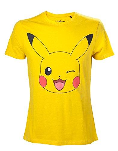Close Up Pokémon T-Shirt Pikachu, Aus 100% Baumwolle in Gelb, S, M, L, XL (XL)