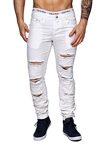 MEGASTYL Herren Hose Ripped Jeans Weiß Slim-Fit Stretch-Denim, GRÖSSE:W38 / L32