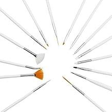Extradiscount® - Pinceles profesionales establecido 15 uñas micro pintura nail art gel acrílico mani