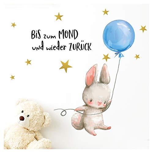 Little Deco Jungen Wandtattoo Kinderzimmer Hase Blauer Ballon Spruch Bis zum Mond I (BxH) 54 x 29 cm I Babyzimmer Aufkleber Tiere Wandaufkleber Wandsticker Kinder DL209-2