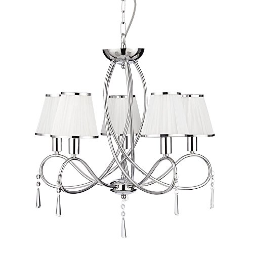 String Trim (5 LIGHT CHROME CEILING WITH GLASS DROPS AND WHITE FABRIC STRING SHADES WITH CHROME TRIM)