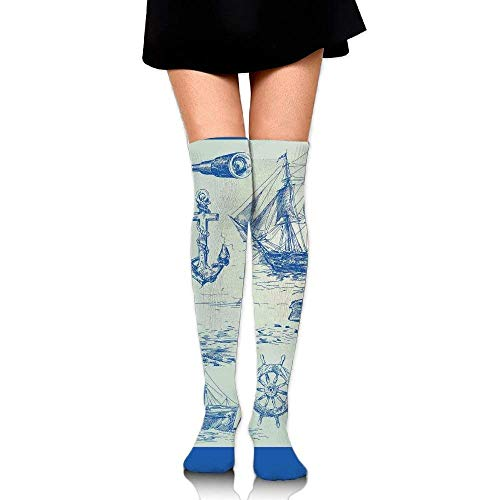 OQUYCZ Women Whale Sail Boat Steering Wheel and Old Lighthouse Fishing Theme Sketchy Breathable High Boot Socks