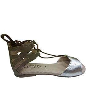 Cirqus 171074 - Sandalia romana adolescente niña plata/taupe romana con cordones