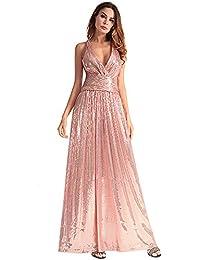 vestido de noche Las mujeres vestido vestido largo sin respaldo Sequin parte cuello V profundo Prom