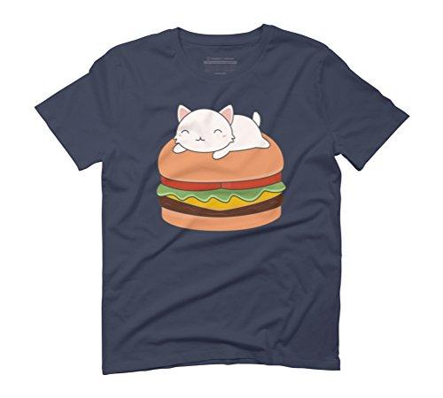 Kawaii Cute Cat On A Burger Men's Graphic T-Shirt - Design By Humans Navy
