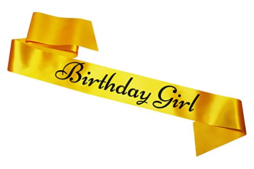 Birthday Girl Schärpe 16th 18th 21st 25th 30th 40th 50th 60th Birthday Party Gift Gelb Yellow ()