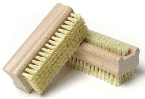 Image of Wooden Handle Double Sided Nylon Bristle Nail Brush - Set of 2
