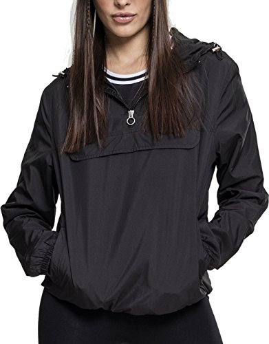 Urban Classics Damen Übergangs-Jacke Ladies Basic Pull-Over Jacket ,Schwarz (Black 00007) ,L Windbreaker