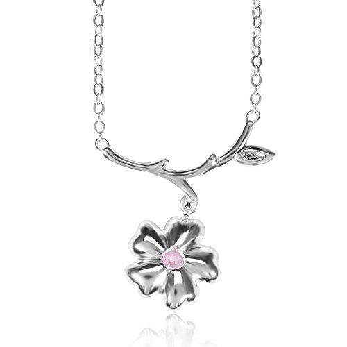 Sonew 2 Farben Weibliches Schlüsselbein Halskette Blume Baumzweige Zirkon Anhänger Halskette für Hochzeiten Abendessen Termine Führungen Parteien Tänze Ideal (Pink)