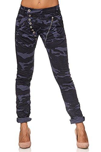 Elara Damen Jeans | Knopfleiste | Reißverschluss | Chunkyrayan C9886 Camou.Blue 36/S