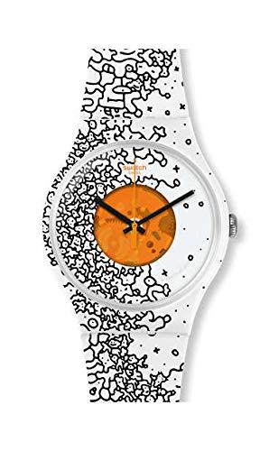 Swatch Unisex Erwachsene Analog Quarz Uhr mit Silikon Armband SUOW167