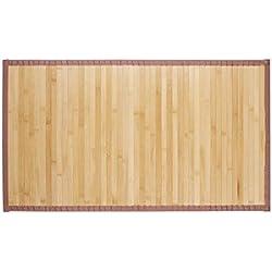 Relaxdays Alfombra de bambú, Impermeable, Antideslizante, Borde Textil, 80x45 cm, Marrón