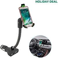KFZ Handy Halterung ,Handyhalterung auto mit 3.4A 2 Port USB Zigarettenanzünder Ladegerät für iPhone X/8/ 7/6s/6 Plus/5 Galaxy S8/ S7/S6/S5/S4 Huawei Nexus Xperia LG HTC und GPS Naivs Geräte.