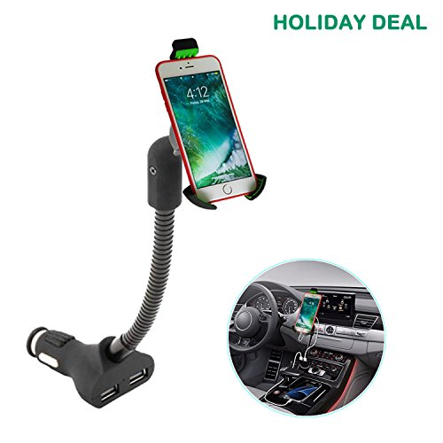 KFZ Handy Halterung ,Handyhalterung auto mit 3.4A 2 Port USB Zigarettenanzünder Ladegerät für iPhone X/8/ 7/6s/6 Plus/5 Galaxy S8/ S7/S6/S5/S4 Huawei Nexus Xperia LG HTC und GPS Naivs Geräte. (Smart-handy-ladegerät)