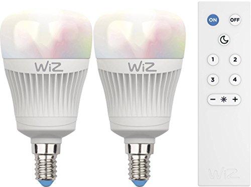 Kit de 2 ampoules LED intelligentes WiZ E27 - connectées par WiFi - blanc et couleurs avec WiZmote. Réglage de l'intensité lumineuse, 64 000 nuances de blanc, 16 millions de couleurs. Fonctionne avec Amazon Alexa et Google Home.