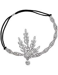 Babeyond Art Déco 1920 aileron Great Gatsby Inspiré Feuille médaillon perle Tiara casque (Sliver)