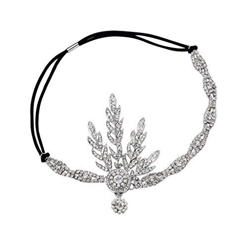 Babeyond® Art Deco 1920 Flapper Great Gatsby Inspiriert Blattmedaillon Perle Kopfschmuck Kopfband Silber