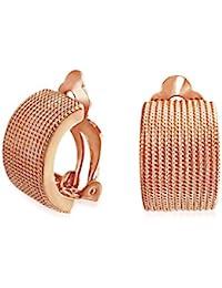 0fe66feac2d7 Cable trenzado soga mitad Hoop abrazadera en oídos pendientes de latón  chapado en oro rosa