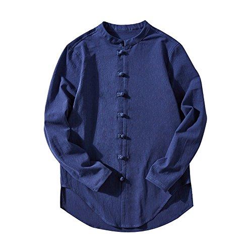 UJUNAOR Oktoberfest Mode Männer Casual Tops Sommer Langarm T-Shirt Knopf Leinen Solide Stehkragen Bluse(Blau,CN ()