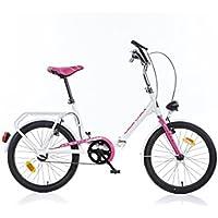 Dino Bikes 321-0502 Niñas Recreación Metal Rosa, Color blanco bicicletta - Bicicleta (