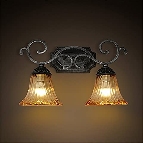 Larsure Vintage Industrial Style Wall Sconce Wall Light Lamp Restaurant bar double-headed iron glass mirror front light balcony corridor retro bedroom wall