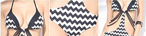 PRIDE S Dreieck Siamese Bikini Wave Printing Badeanzug Schwarz