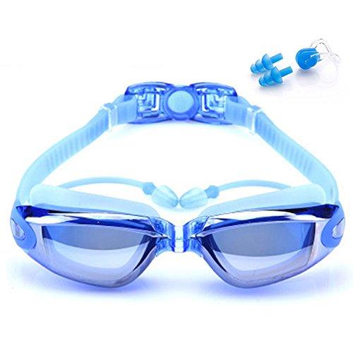 Schwimmbrille, Schwimmbrille mit Anti Nebel UV-Schutz, mit Nase Clip, Ohr Stecker, Crystal Clear Vision mit Schutzhülle - bequeme Passform für Erwachsene, Männer, Frauen, Jugend, Kinder.(Blau)