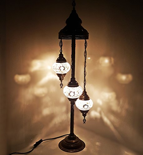 Turkish Moroccan Tiffany Style Glass Mosaic Floor Lamp Night Light - W1 X 3 Bulb Floor Lamp