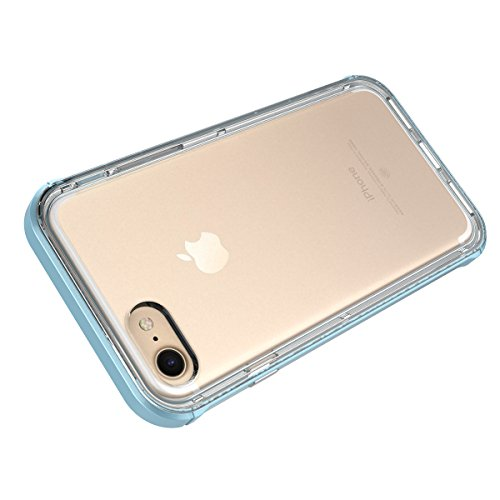 GrandEver iPhone 7 Plus Hülle Dual Layer Hybrid Rahmen mit Weiche TPU Silikon Bumper + Hart PC Zurück Kombination Transparent Schutzhülle Case Cover Scratch-Resistant Tasche für Apple iPhone 7 Plus (5 Blau
