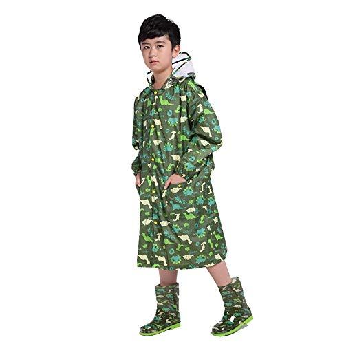 Guyuan Kinder Regenmantel Jungen und Mädchen Kindergarten Cartoon Koreanisch Grundschule Regenmantel Regen Stiefel Anzug Poncho (Color : Green, Size : XXXXL) (Regen Burberry Stiefel)