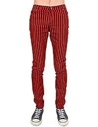 Mens Indie Vintage Retro 60s 70s MOD Black Red Striped Stretch Skinny Jeans