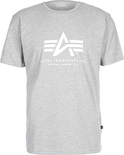 Alpha Industries Basic T-Shirt Grau M - Großer Mann Crewneck T-shirt