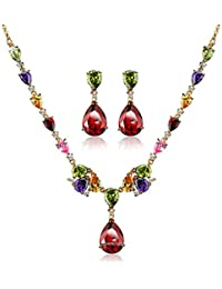 Via Mazzini 18K Gold Plated Top Quality AAA Swiss Cubic Zirconia Necklace Earrings Set For Women (NK0479)