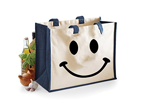 Smiley Face-Damen Lustige Sprüche Neuheit Jute Klassische Shopper-Tasche- Marine