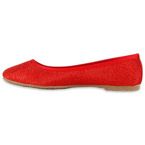 Klassische Damen Pailletten Ballerinas Schleifen Rot Bernice