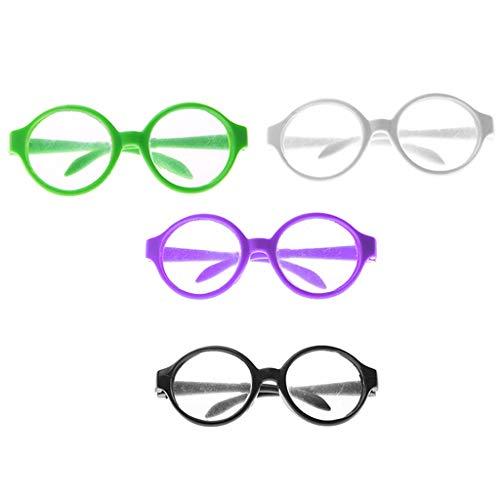 CUTICATE 4pcs Puppenzubehör Miniatur Brillen Runde Brillengestell Gläser Puppenbrille