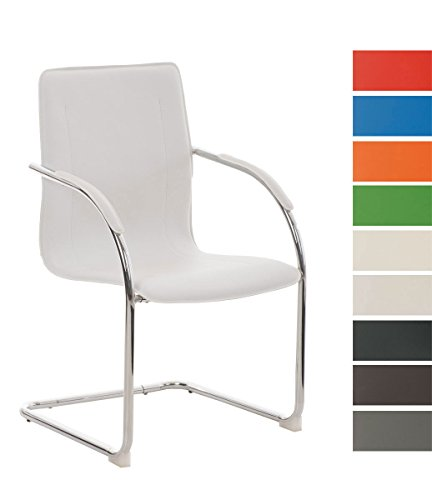 CLP Freischwinger Melina V2 mit Kunstlederbezug I Konferenzstuhl mit Armlehne I Bürostuhl mit Metallgestell in Chrom-Optik und...
