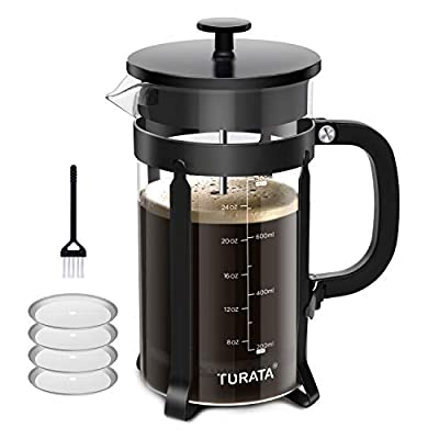 TURATA French Press Coffee Tea Maker Cafetiere with Brush for Cleaning (1000ml, 8 Cups, 32 Oz)
