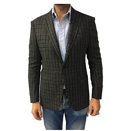 ASPESI Giacca Uomo Quadri Verde/Nero/Bordeaux 100% Lana Made in Italy vestibilità Slim (XL - 52)