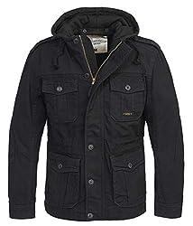 Brandit Urban Vintage Parka Sweathood Jacke (Black-Black, 4XL)