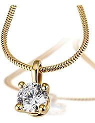 Goldmaid Damen-Kette mit Anhänger Solitär 4er Stotzen, inklusiv externer Expertise 750 Diamant (1.00 ct) weiß Brillantschliff 45 cm - So C6737
