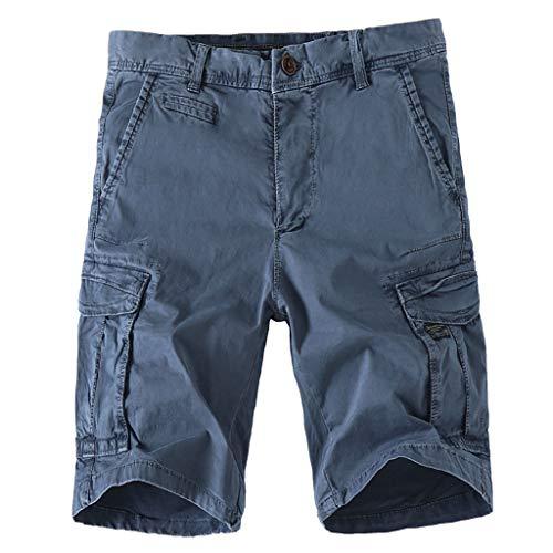 HHyyq Herren Sommer Bermudas Cargo Shorts Militär Leichte Atmungsaktiv Seitentaschen Komfort Für Outdoor aktivitäten oder für Dein alltägliches Beiläufige lose Overalls(Blau,32) - Militär-thermo-unterwäsche