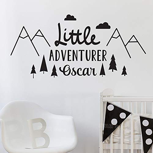 HNXDP Little Adventurer Home Etiqueta de la pared, calcomanías personalizadas, estilo nórdico aventura vinilo pegatinas de pared para niños habitación naranja 85X40 CM