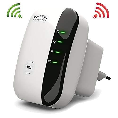Conhee WLAN Repeater (300Mbit/s, kompatibel mit Allen WLAN Geräten) WLAN Range Extender Wireless Access Point WiFi Booster mit WPS und LAN Ports - weiß