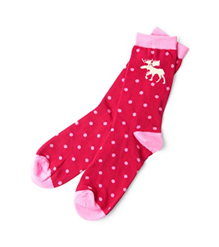 Hatley Little Blue House by Damen Crew Socks Sportsocken, Pink (Moose & Polka Dots 650), One Size - Cotton House Kleid