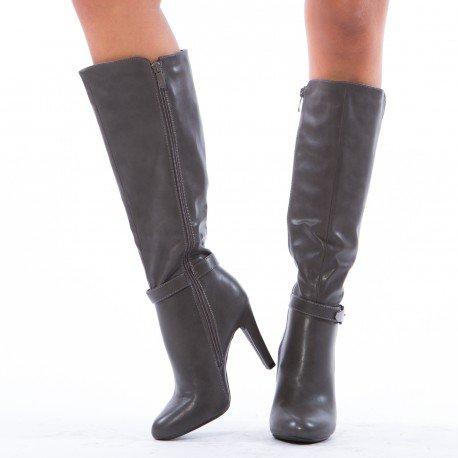 Ideal Shoes - Bottes à talon décorées d'un ceinturon Tallia Gris